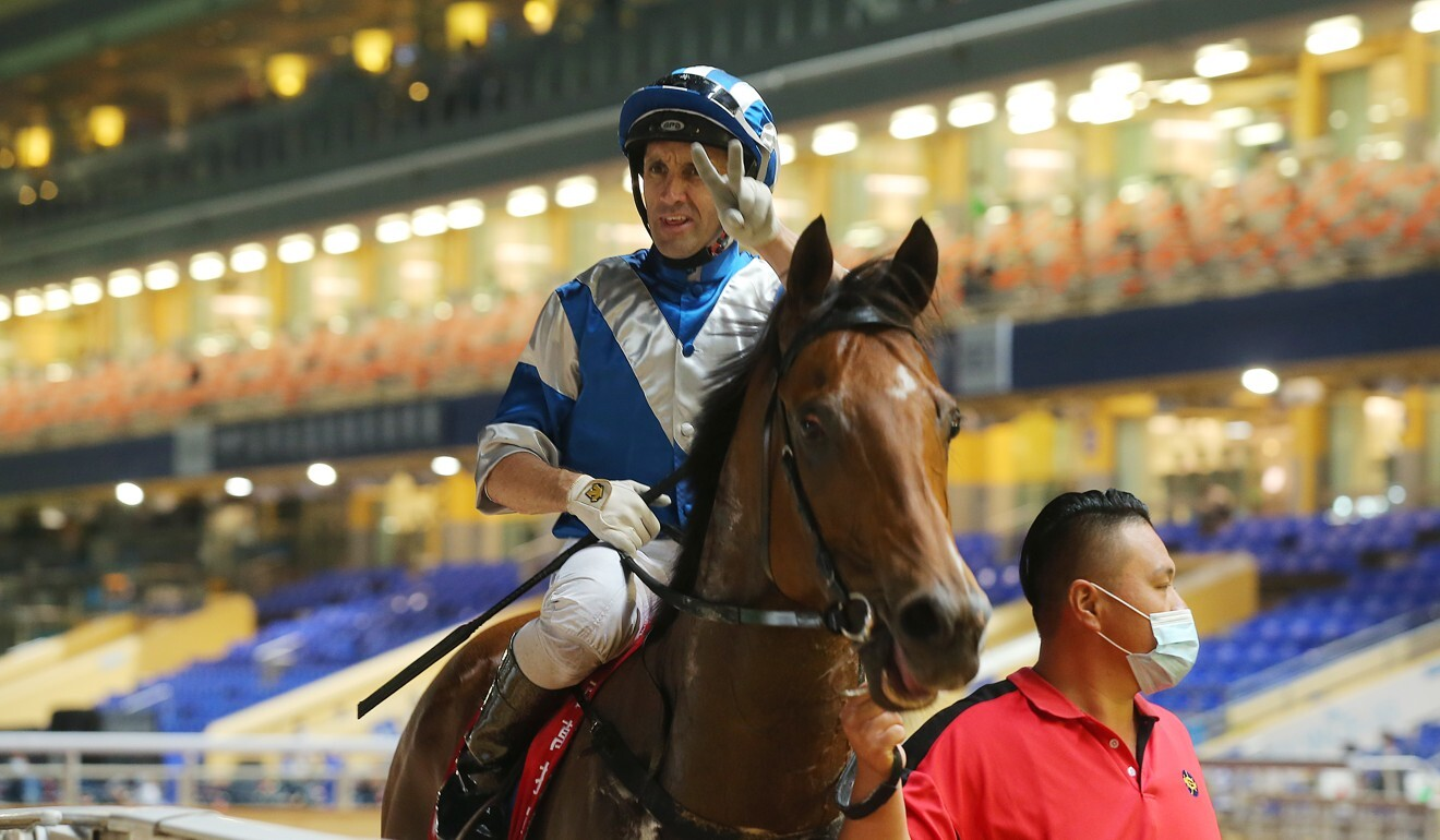 Neil Callan after riding Lobo's Legend to victory on Wednesday night.