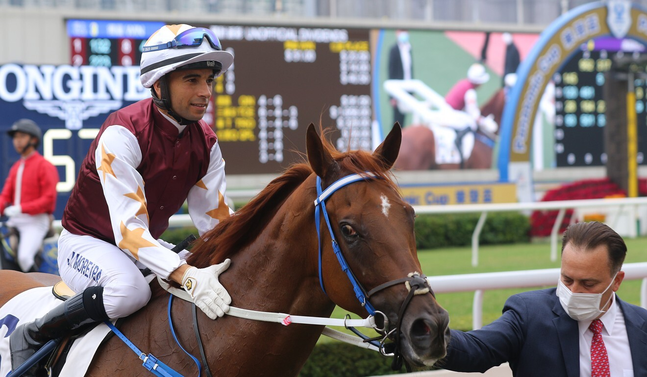 Joao Moreira and Caspar Fownes after Forte's victory at Sha Tin.