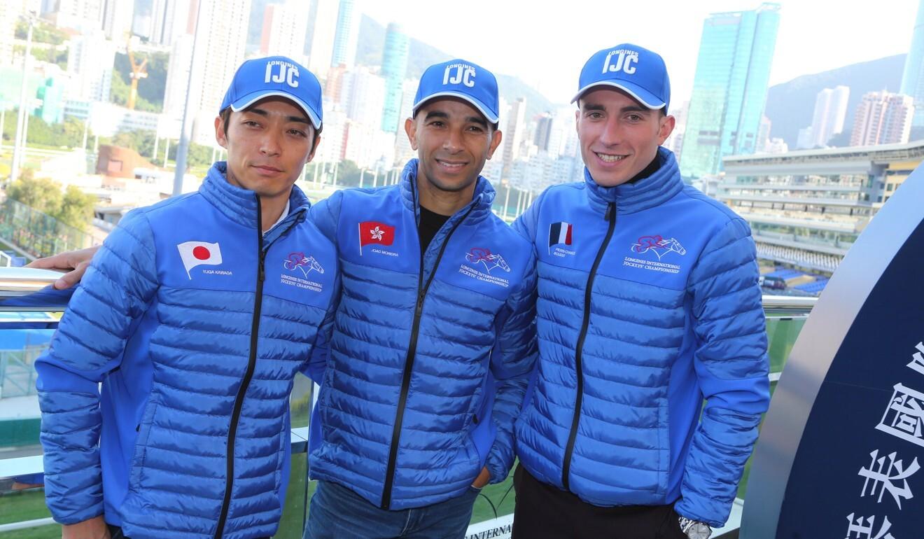 Yuga Kawada, Joao Moreira and Pierre-Charles Boudot pose for photos at last year's International Jockeys' Championship press conference.