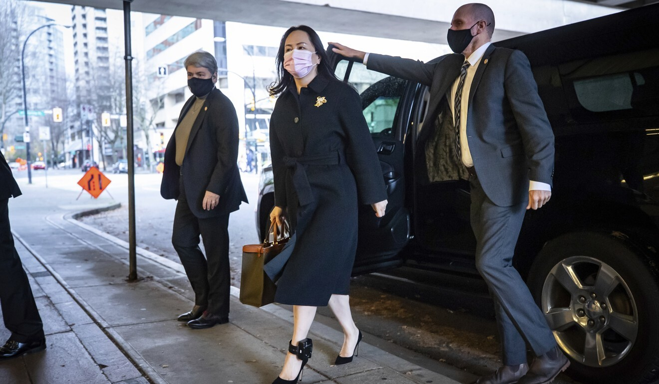 Meng Wanzhou arrives at the British Columbia Supreme Court to attend a hearing in Vancouver on Thursday. Photo: AP