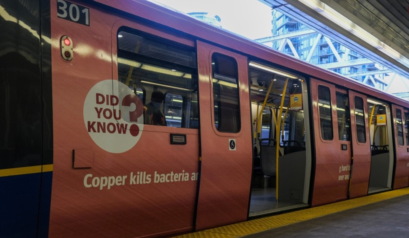 Copper coatings installed on public transport in Vancouver. Photo: CuGrip/TransLink