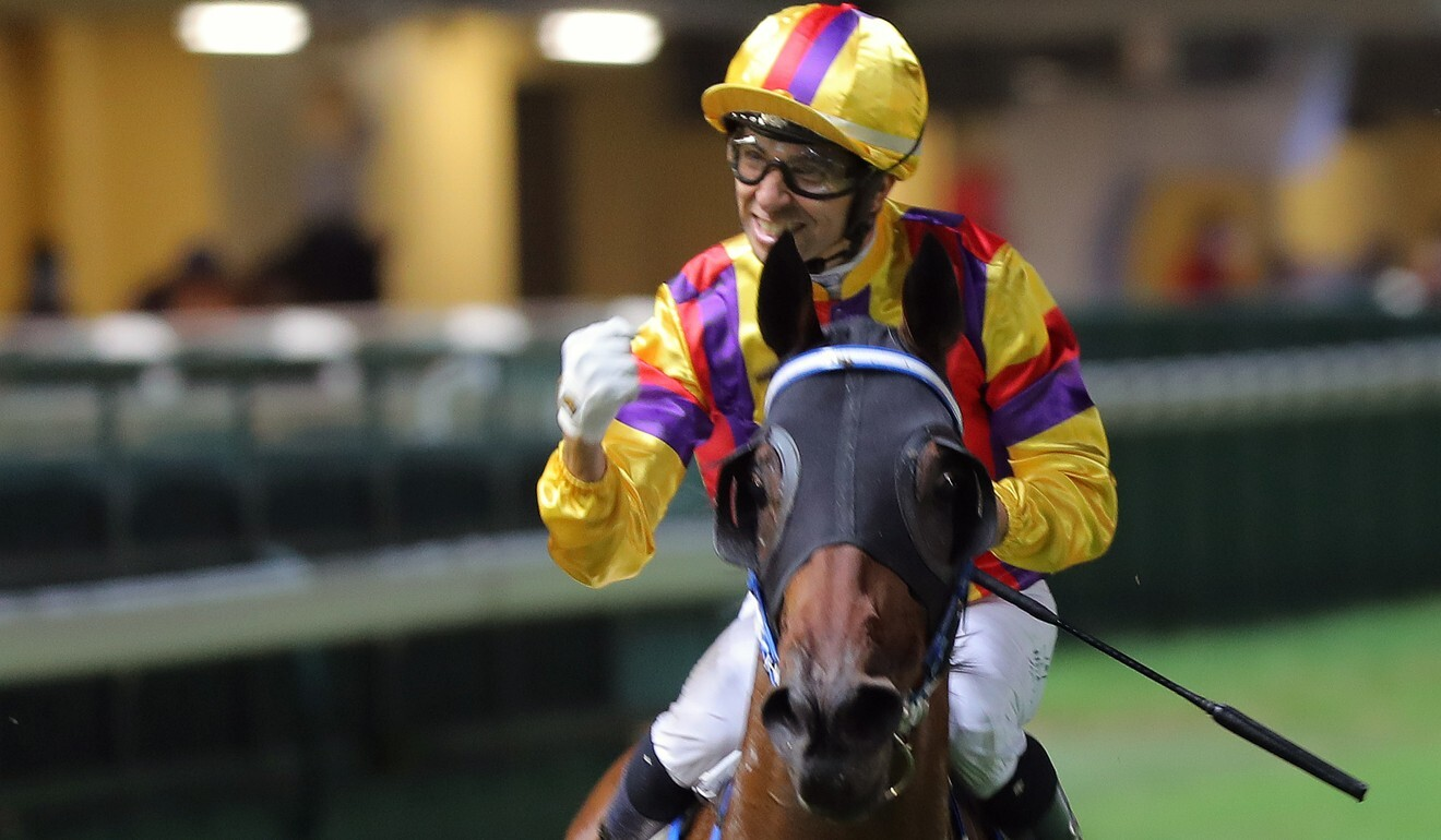 Joao Moreira pumps his fist after a win last month.