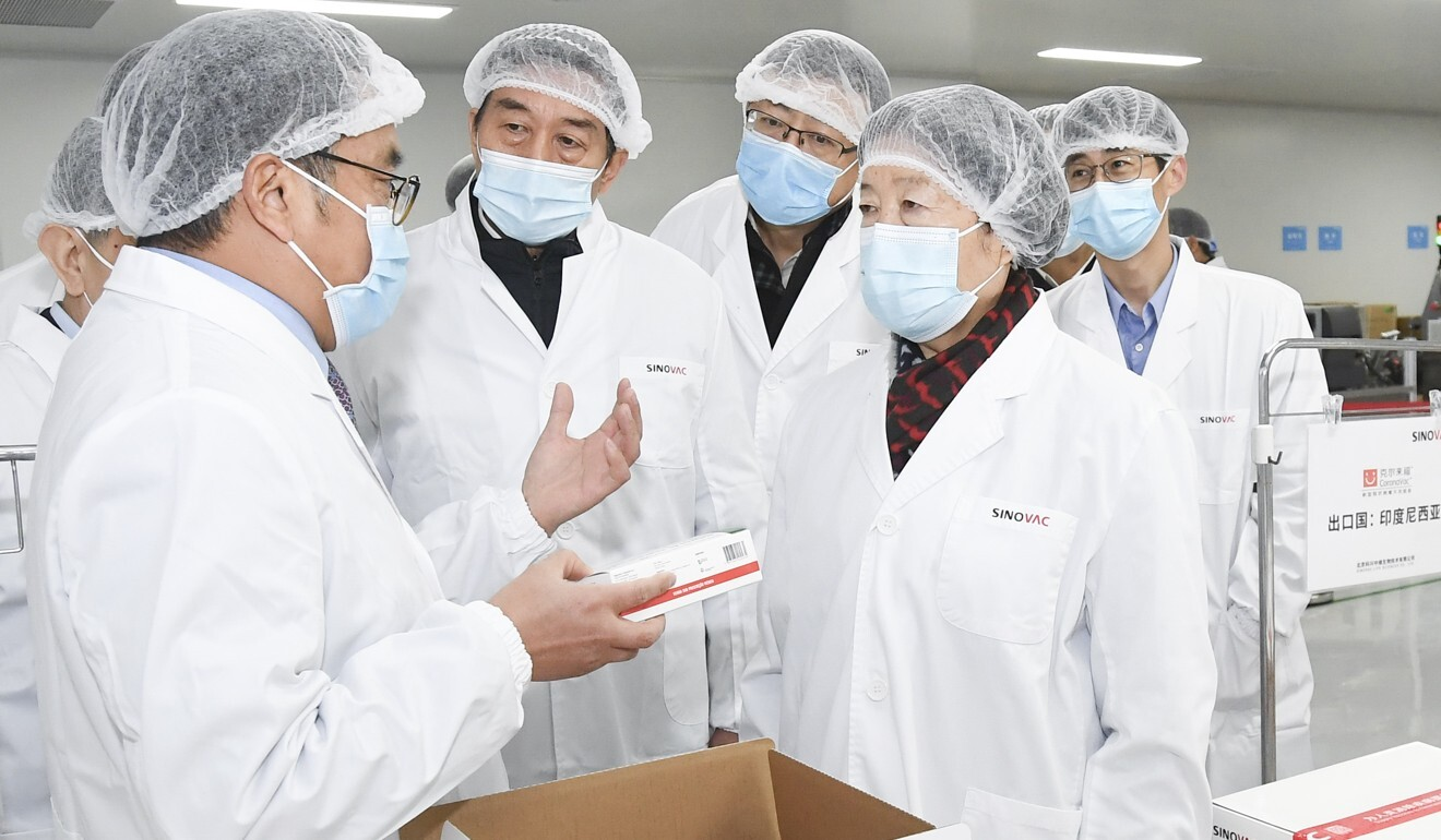 Vice-Premier Sun Chunlan (right) told vaccine makers to get ready for mass production. Photo: Xinhua