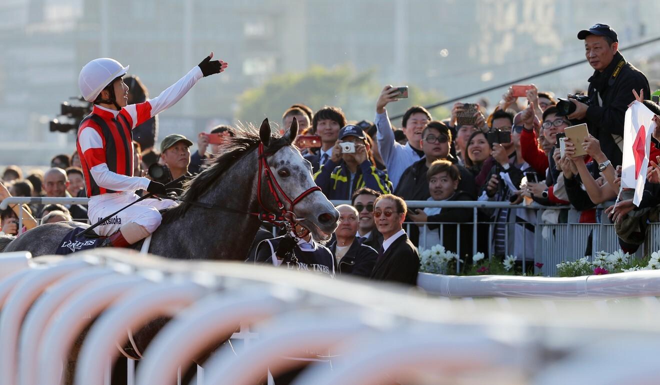 Masami Matsuoka after winning on Win Bright in 2019.
