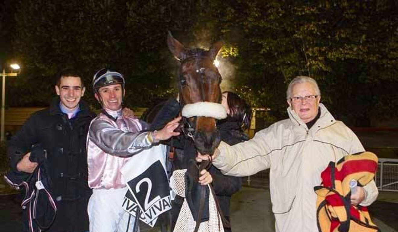 Jerome Reynier (left) and his father Serge (right) with their 'little legend' Its All Class. Photo: Jerome Reynier