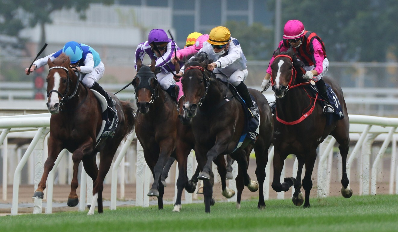 Vincent Ho goes for home on Golden Sixty in the Hong Kong Mile.