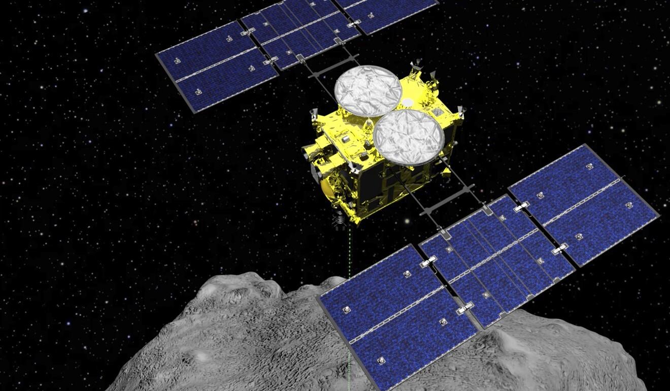 An artist's impression of the Hayabusa2 spacecraft above the asteroid Ryugu. Photo: ISAS/JAXA via AP