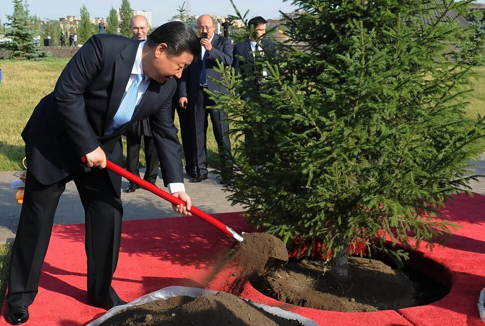 President Xi Jinping plants a tree in Astana, Kazakhstan, in September 2013 during a state visit to the Central Asian country. The belt and road's centrality in China's foreign policy thinking can be traced back to Beijing's outreach to Central Asian countries in the 1990s. Photo: AFP