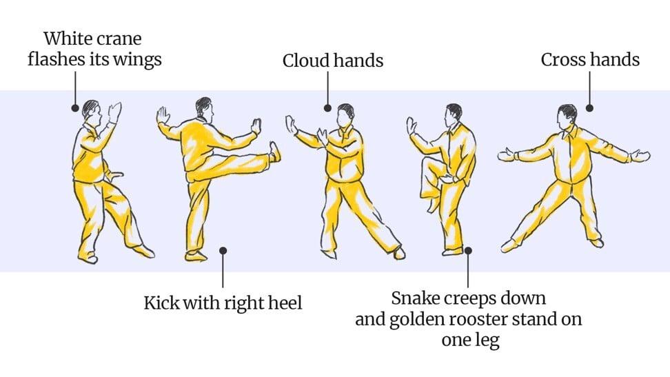 Five common tai chi moves. Image: SCMP Graphics