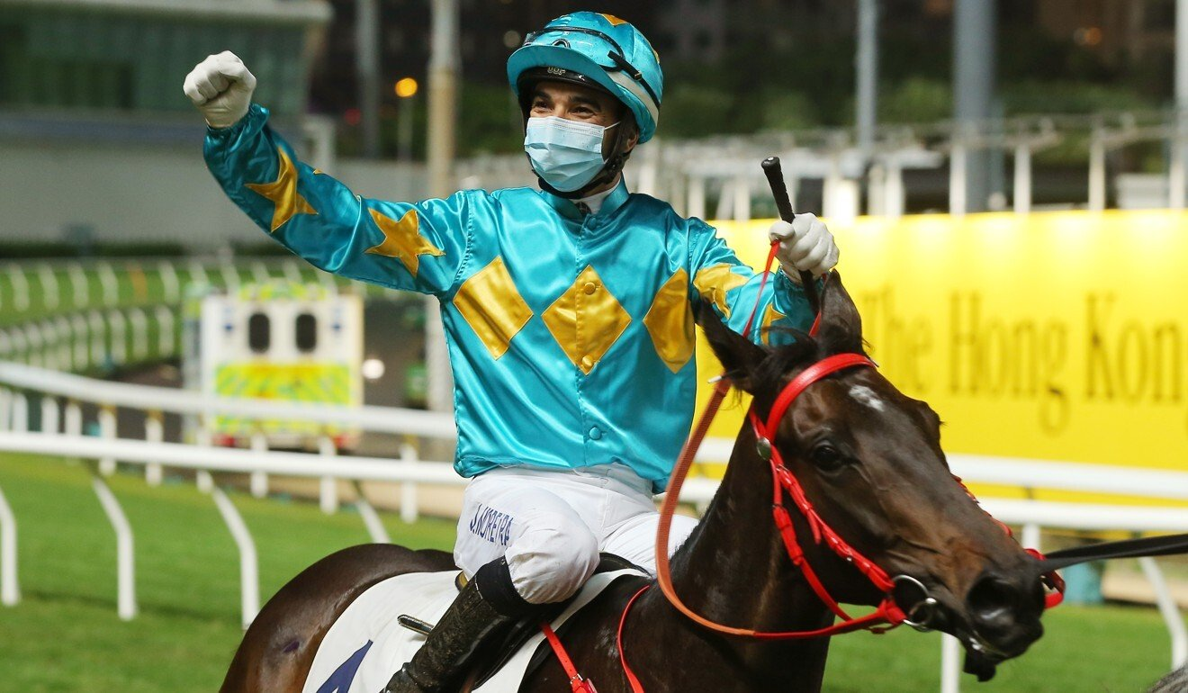 Joao Moreira enjoys his 1,000th winner.