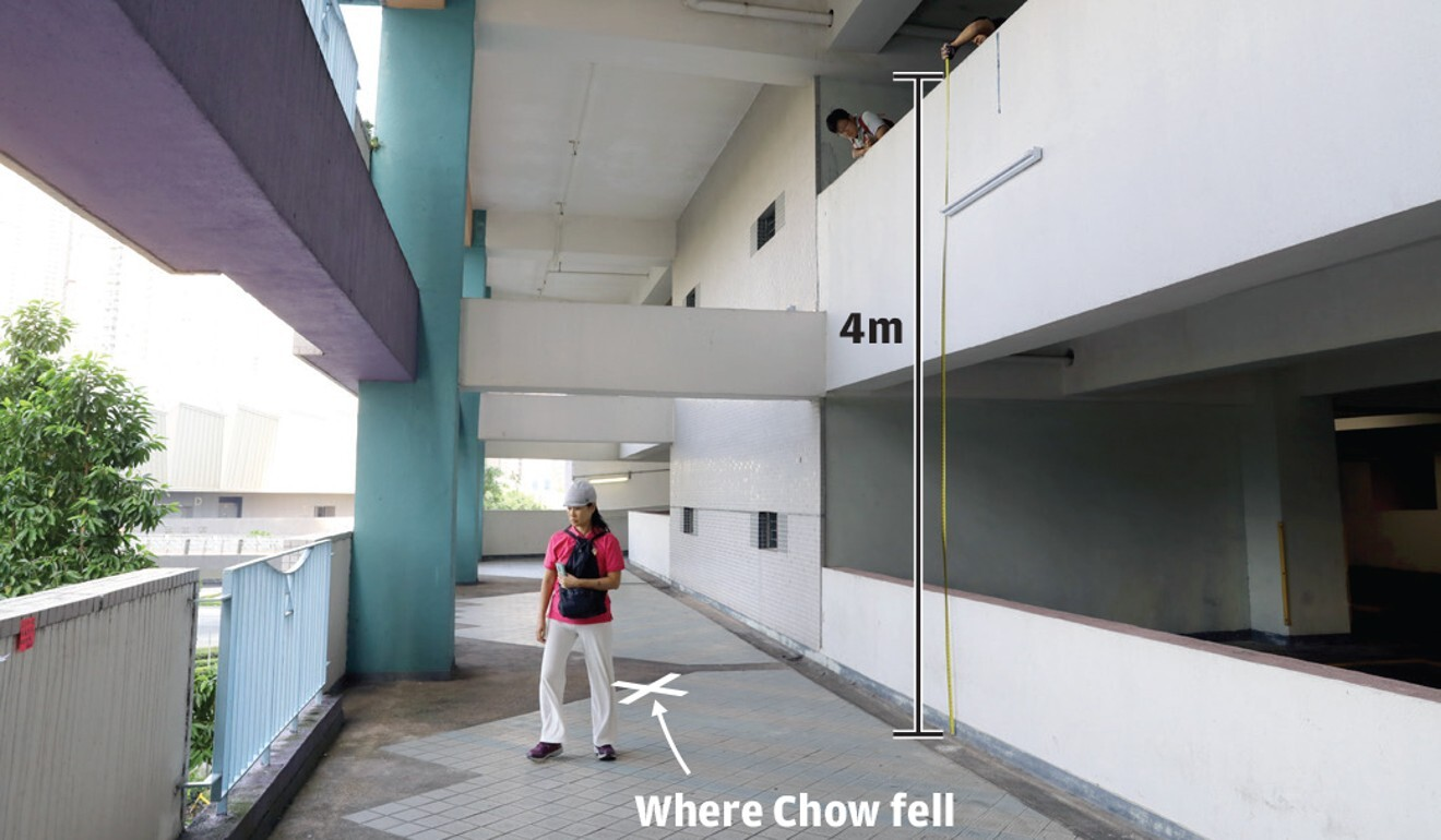 The Sheung Tak Estate car park in Tseung Kwan O, where Chow Tsz-lok fell from the third floor to the second floor. Photo: Handout
