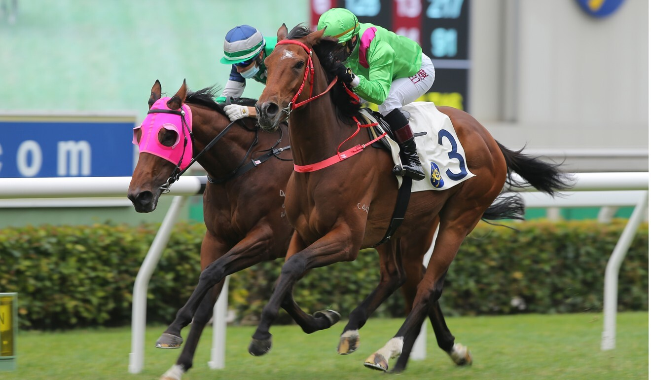 Alexis Badel boots home Leading Fortune at Sha Tin on Sunday.