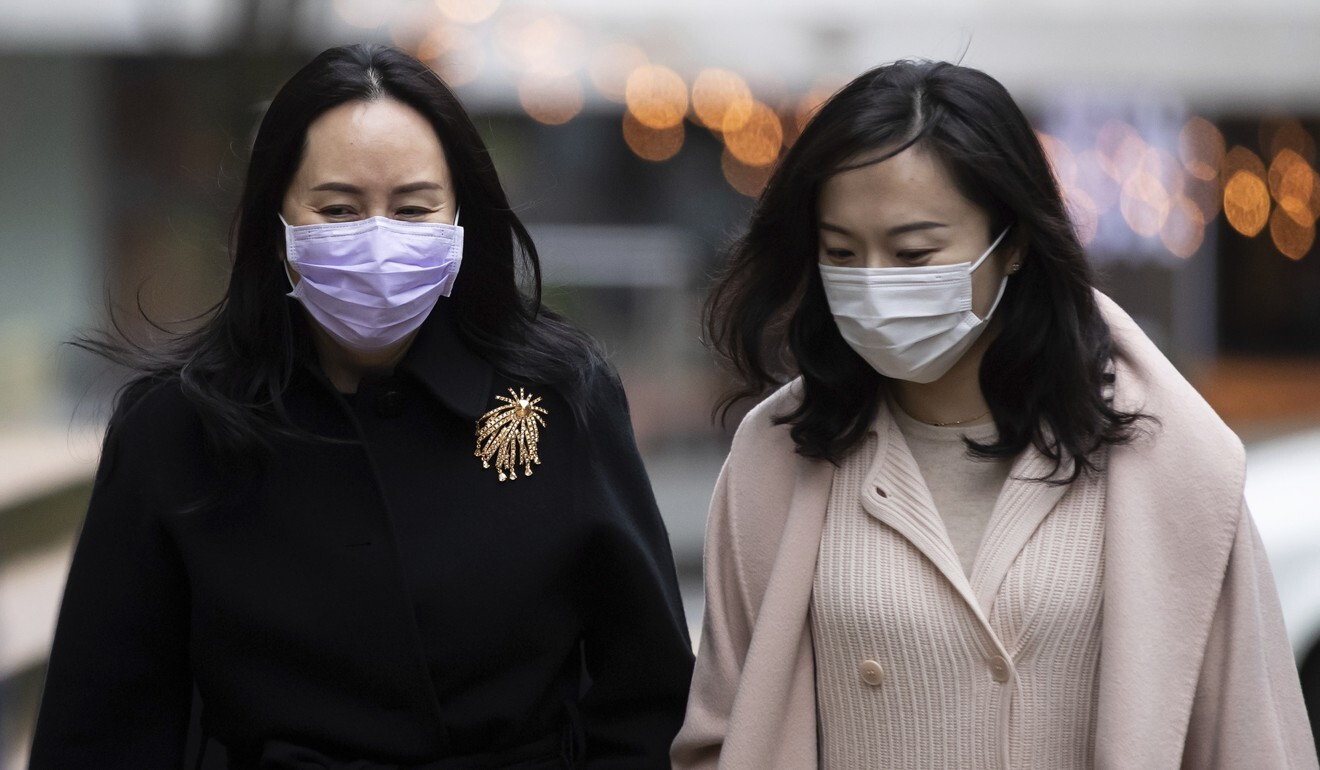 Meng Wanzhou, left, and an unidentified woman return to court in Vancouver, British Columbia, on Tuesday. Photo: AP