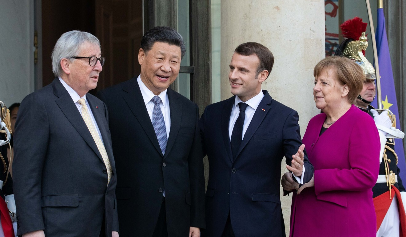 From left: Jean-Claude Juncker, president of the European Commission; Xi Jinping, China's president; Emmanuel Macron, France's president; and Angela Merkel, Germany's chancellor, seen in March 2019. Photo: Bloomberg