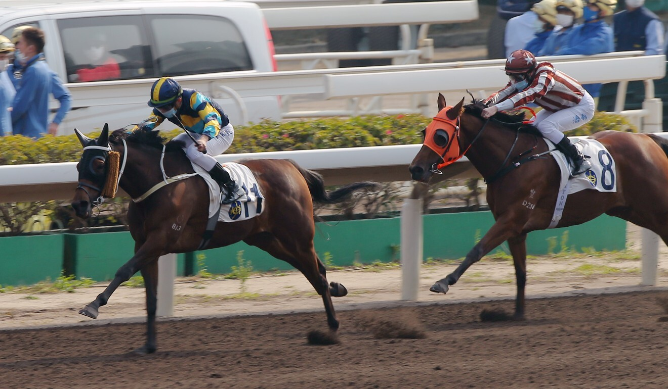 Lady First dashes clear to win comfortably on the Sha Tin all-weather surface.