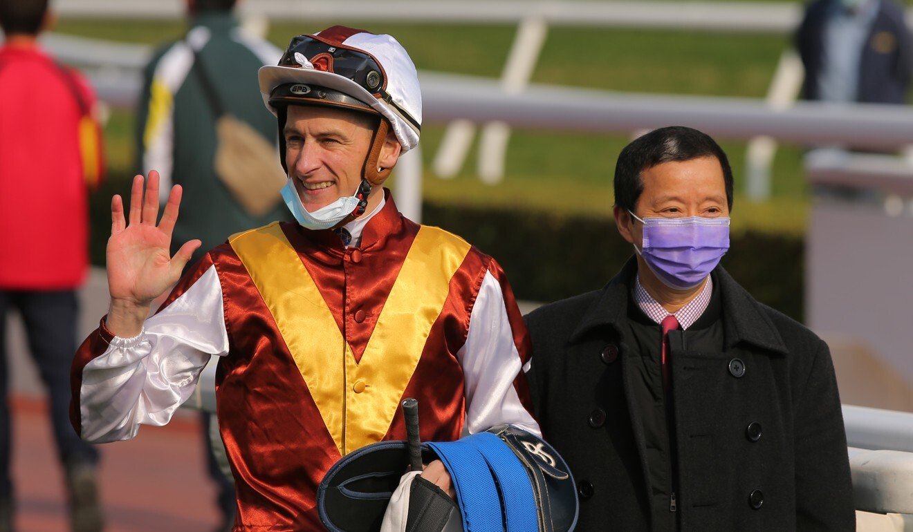 Blake Shinn with Benno Yung after New Fortune's win.