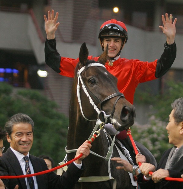 Christophe Soumillon celebrates his fifth winner of the day at Sha Tin in January 2006. Photo: Kenneth Chan