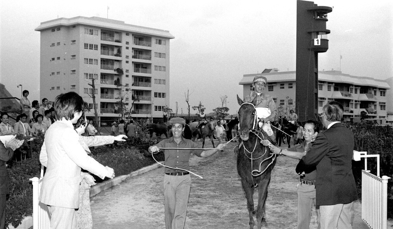Peter Miers returns on Heiddoon Fashion after winning a Class Two 1,600m race at the Sha Tin in November 1978. It is Miers' fifth win of the day. Photo: SCMP