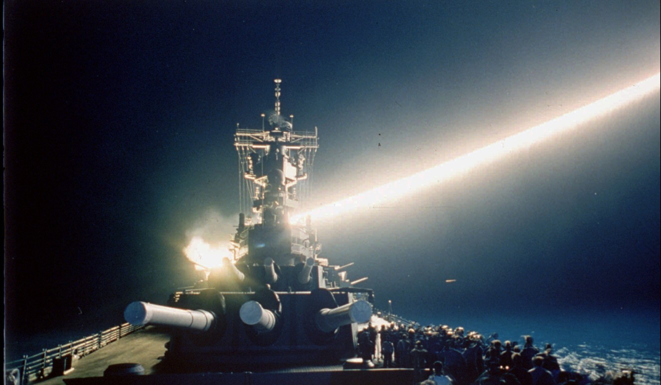 A Tomahawk cruise missile lights up the night sky as it is fired from the USS Wisconsin during the Gulf War in January 1991. Photo: AP