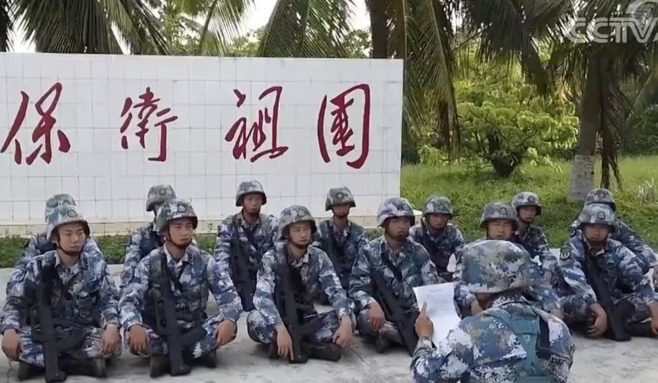PLA troops stationed in the South China Sea take part in a battlefield English training session. Photo: Handout