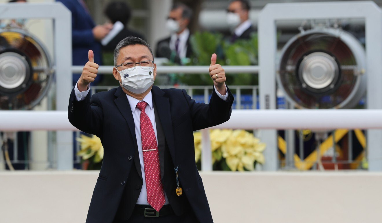 Francis Lui celebrates Golden Sixty's Hong Kong Mile victory.