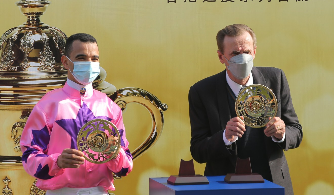 Jockey Joao Moreira and trainer John Size celebrate Hot King Prawn's Group One breakthrough.
