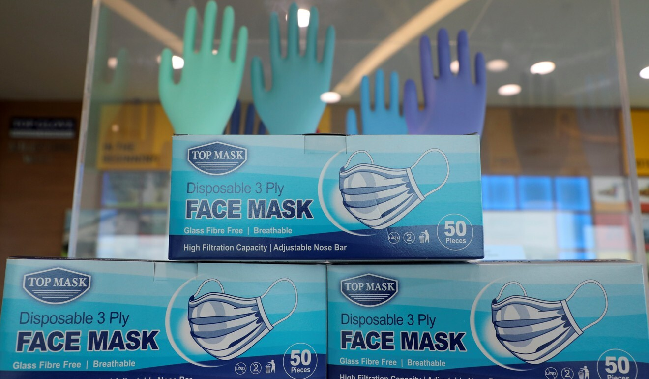 Top Glove product Top Mask on display at its headquarters in Shah Alam, Malaysia. Photo: Reuters