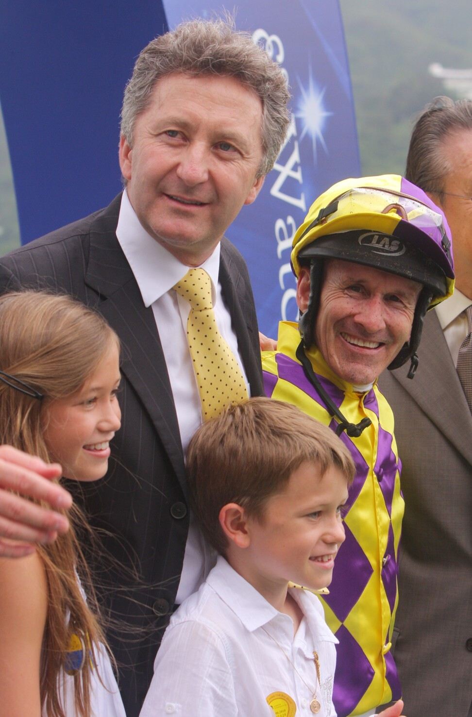 A young Luke Ferraris with his father David (top) after a winner in 2010.
