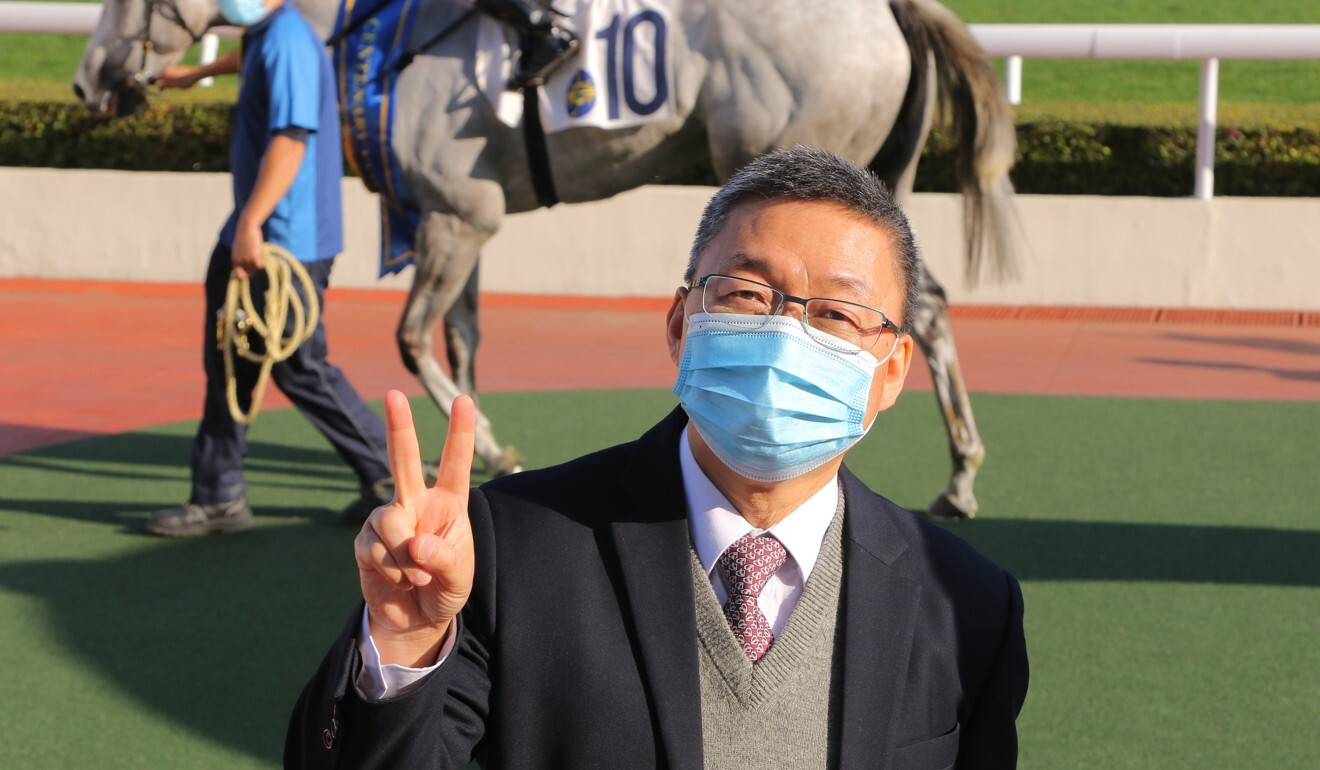 Trainer Francis Lui celebrates his Group Three victory with Glorious Dragon.