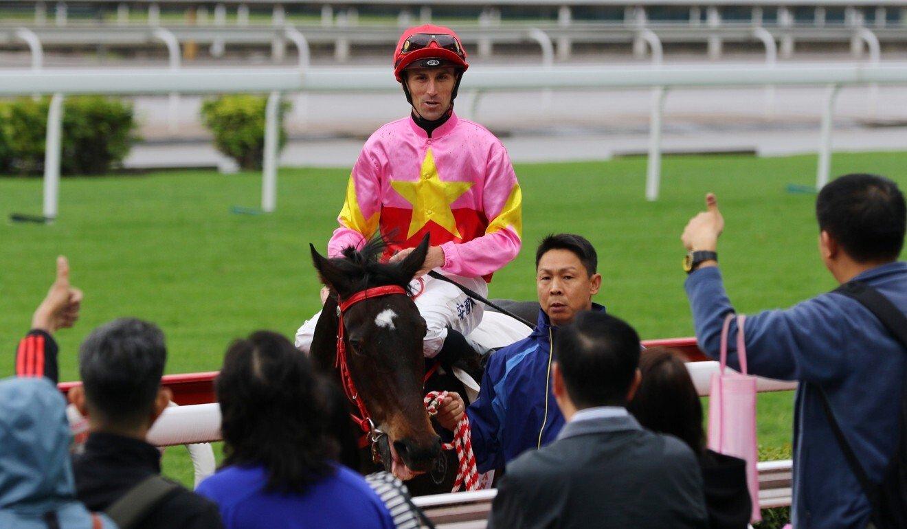 Tye Angland returns after winning aboard Follow Me at Sha Tin.