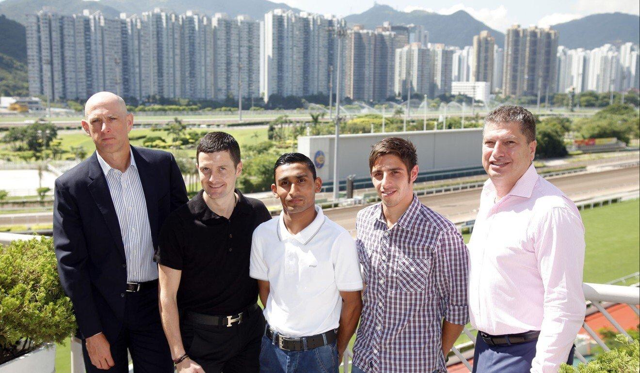 Karis Teetan (middle) upon his arrival in Hong Kong in 2013.