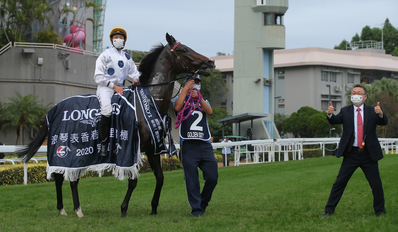 The connections of Golden Sixty celebrate his Hong Kong Mile victory.