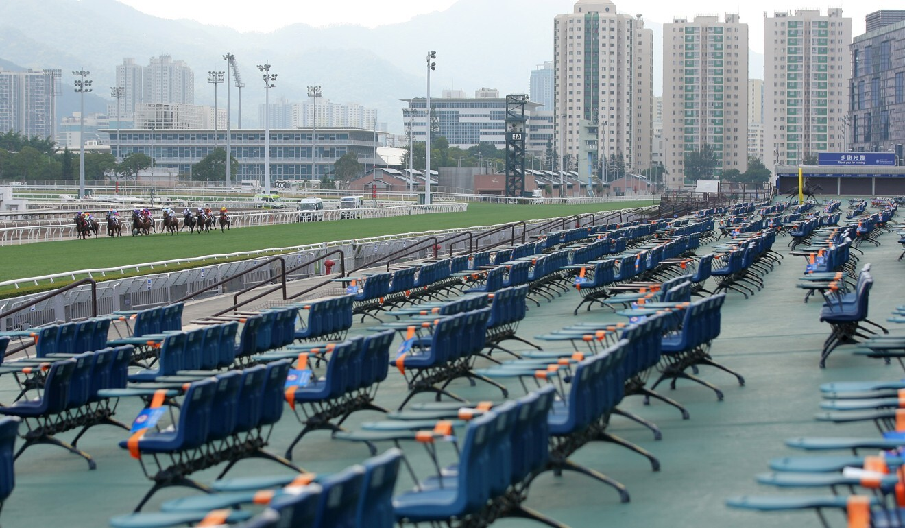 Horses race in front of an empty Sha Tin grandstand. Photo: Kenneth Chan
