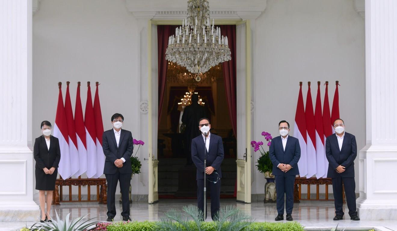 Ridha D.M. Wirakusumah speaks at the Merdeka Palace in Jakarta. Photo: Reuters