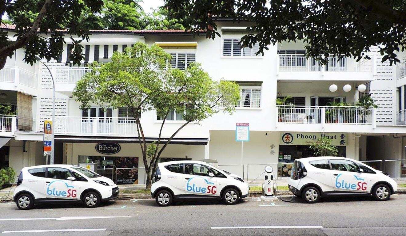BlueSG has 674 electric cars deployed across Singapore for car-sharing use. Photo: Handout