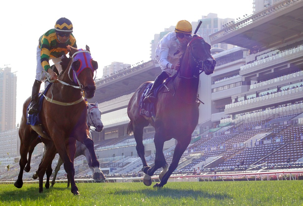 Golden Sixty (right) beats home Furore (left) to win on Sunday.