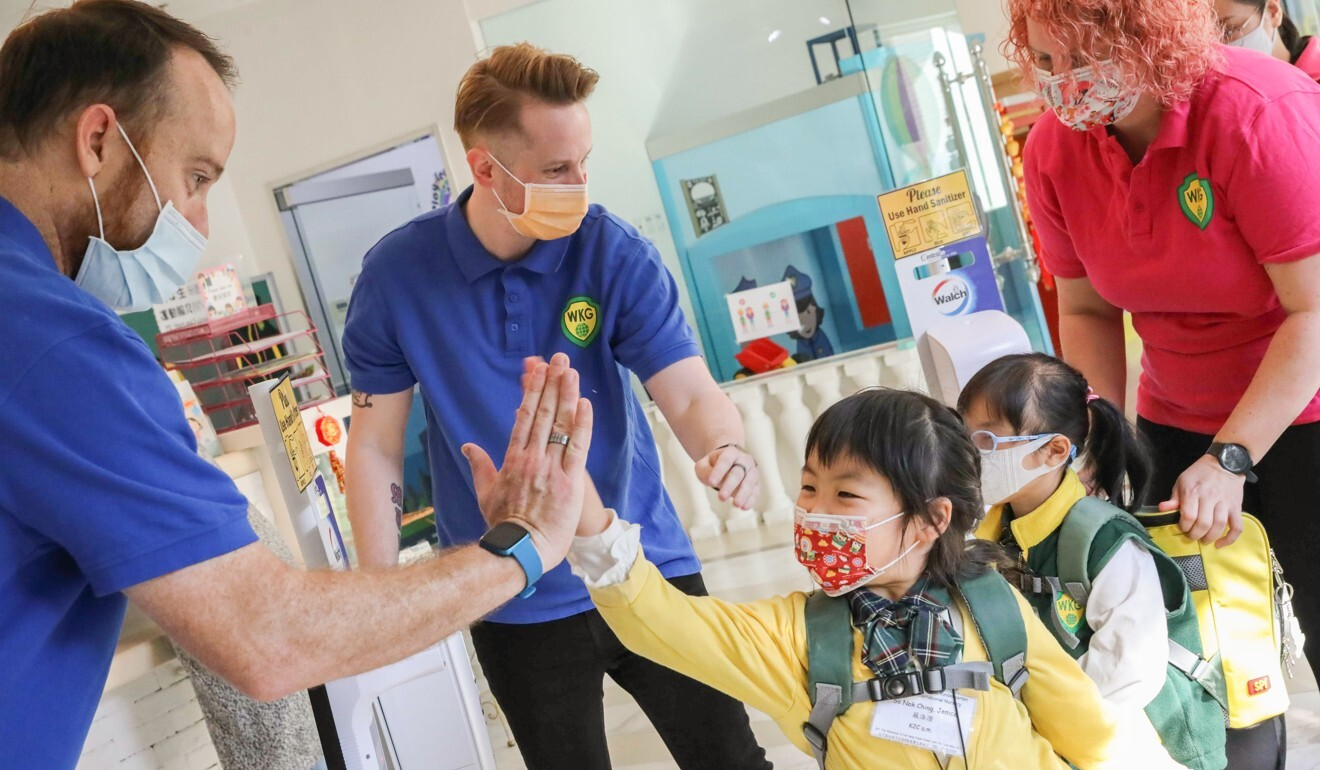 Pupils are glad to be back at Wellcome International Kindergarten. Photo: K. Y. Cheng