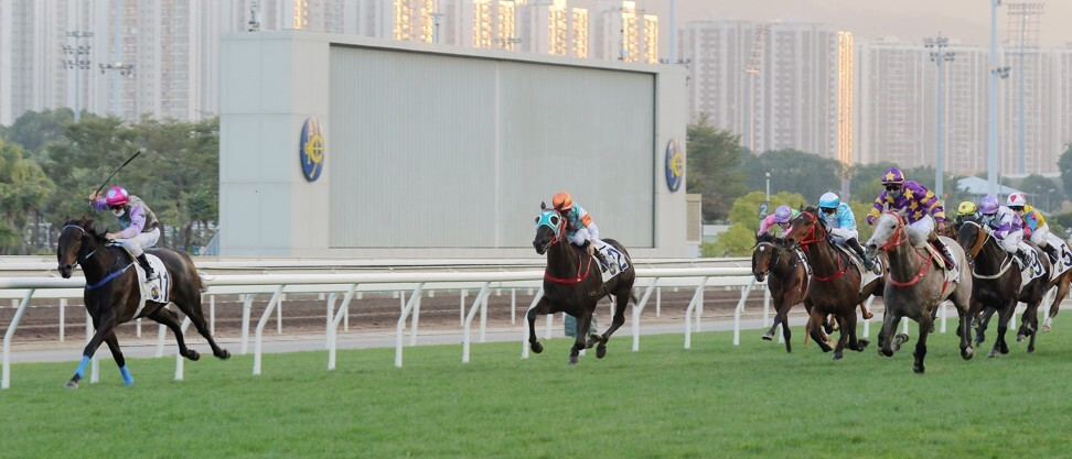 Silver Express (far right) veers off the track while My Sugar (inside) goes on to win at Sha Tin.