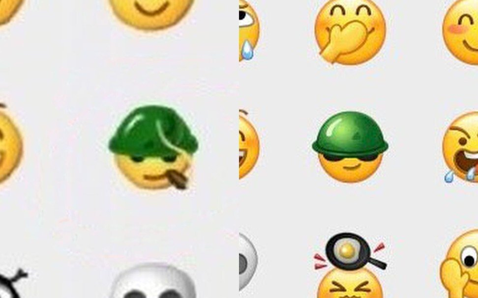 The 'commando' emoji on Tencent Holdings' WeChat, known as Weixin in mainland China, was revised on February 28, 2021, to remove the image of a lit cigar. Photos: Weibo