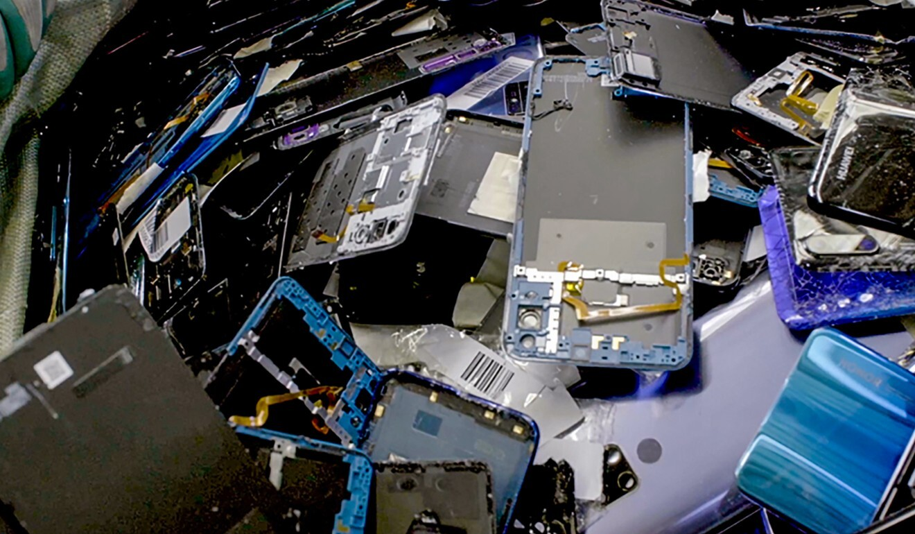 Smartphones are broken down for recycling. Photo: Handout