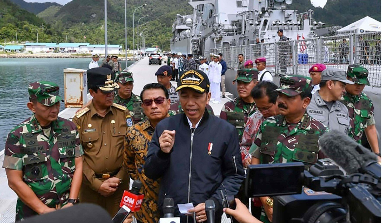 Indonesia's President Joko Widodo during his visit to a military base in the Natuna Islands in January 2020. Photo: AFP