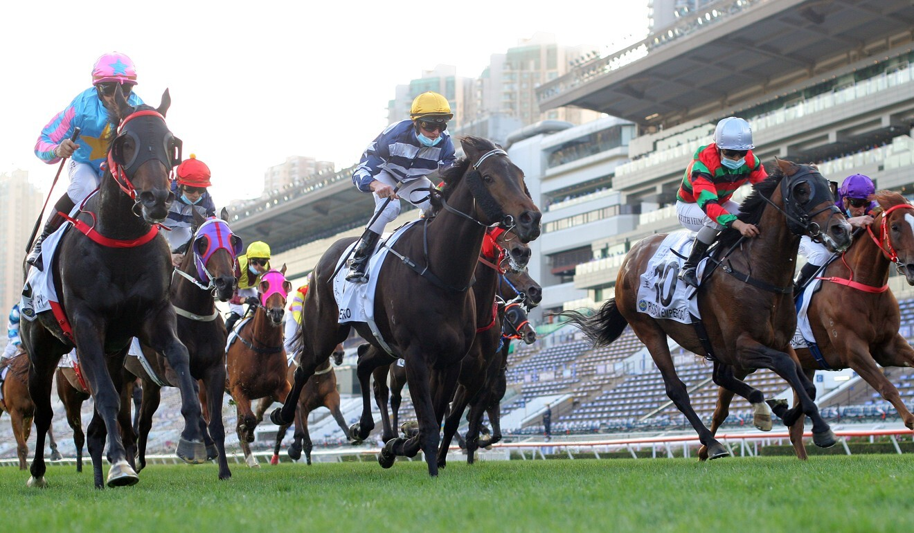 Russian Emperor (right) bursts through to run second in the Classic Cup last month.