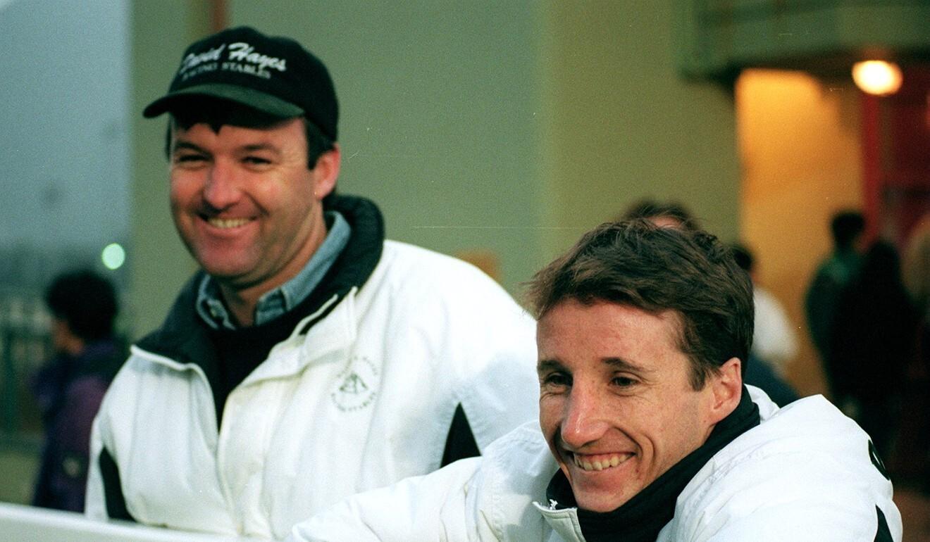 Trainer David Hayes and jockey Damien Oliver at Sha Tin in 1997.