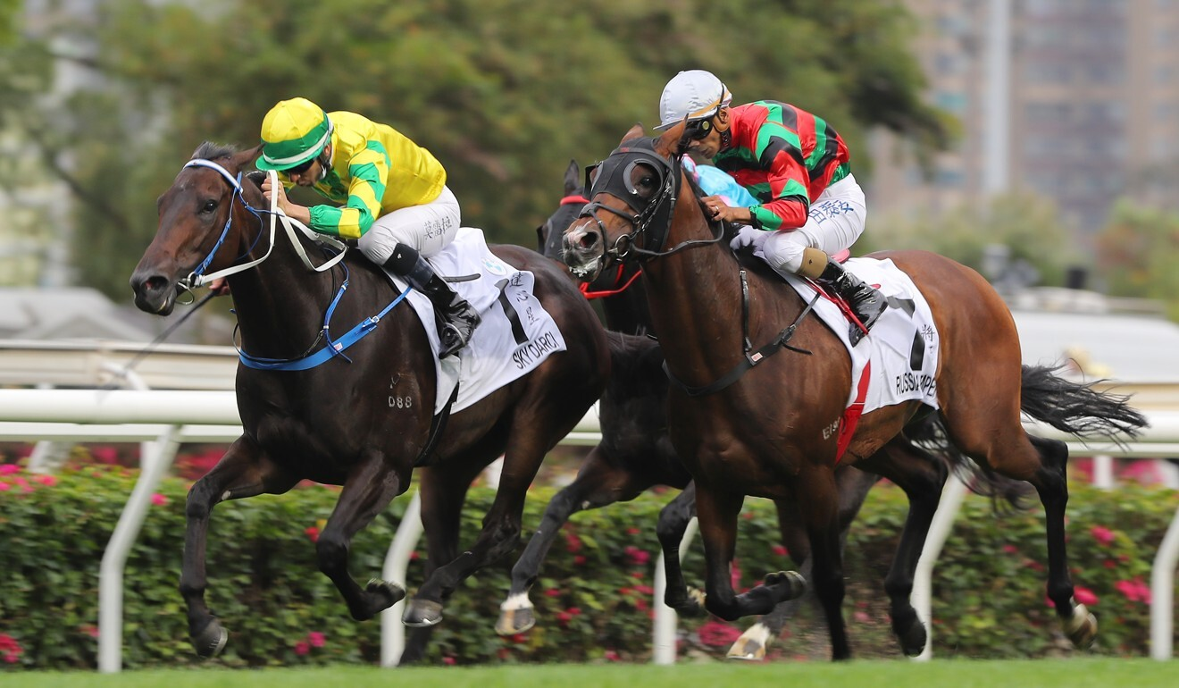 Joao Moreira (left) fends off Russian Emperor to win on Sunday.