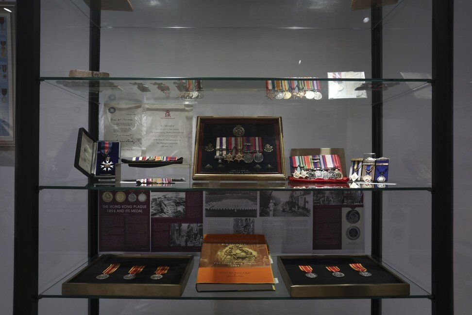 A display of old war medals at The Museum in Central, Hong Kong. Photo: Jonathan Wong