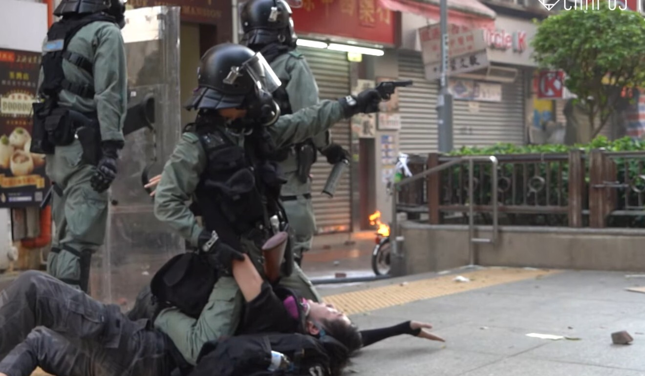 Police subdue a protester. The violence in Tsuen Wan on National Day of 2019 marked one of the grimmest episodes of the civil unrest that year. Photo: Campus TV, HKUSU