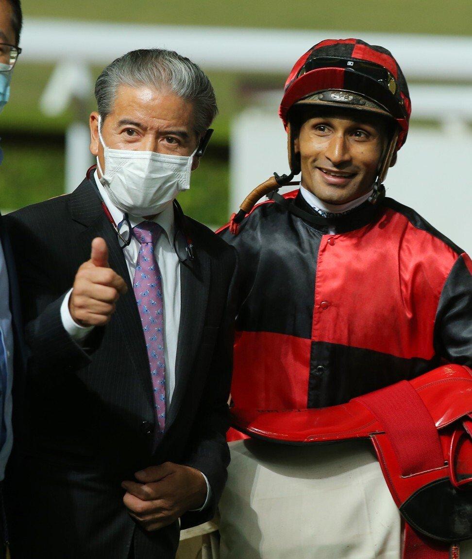 Trainer Tony Cruz and jockey Karis Teetan.