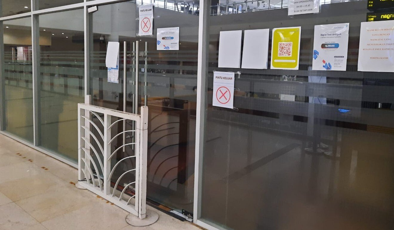 The Kimia Farma testing centre at the airport in Medan has been shut by the police. Photo: Handout