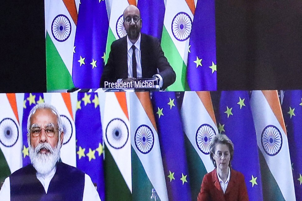 European Council President Charles Michel (top) in a virtual summit with European Commission President Ursula von der Leyen (right) and Indian Prime Minister Narendra Modi in Brussels. File photo: AFP