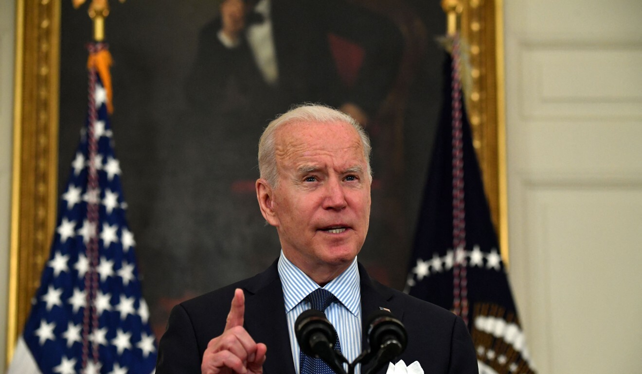President Joe Biden speaks in the State Dining Room of the White House on Tuesday. Photo: Getty Images/TNS